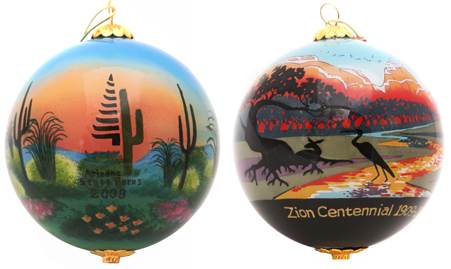custom state park glass ornaments
